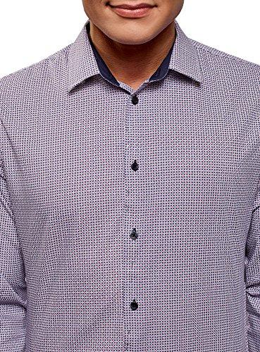 oodji Ultra Uomo Camicia Aderente con Stampa Grafica Viola (1079G)