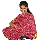 #7: Pure cotton/bamboo soft and smooth printed baby nursery feeding apron/Feeding cloak - Red Aop fabric