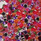 MIRABLAU DESIGN Stoffverkauf Seide Twill Blumen Print Rosen rot pink lila (1-134M), 0,5m