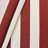 STOFFKONTOR Markisenstoff Outdoorstoff Streifen Breite 160cm Meterware Rot-Weiss