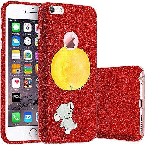 finoo | iPhone 5 / 5S Rote bedruckte Rundum 3 in 1 Glitzer Bling Bling Handy-Hülle | Silikon Schutz-hülle + Glitzer + PP Hülle | Weicher TPU Bumper Case Cover | Queen Black Elefant gelber Ballon