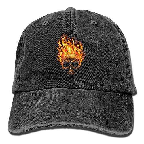 Flame Devil Skull Unisex Hip Hop Cap Baseball Hat Head-Wear Cotton Snapback Hats Black Flame Knit Beanie