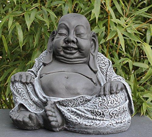 Tiefes Kunsthandwerk Buddha Figur aus Stein Schiefergrau - 2