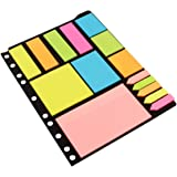 KABEER ART Sticky Notes & Page Markers Binder Pack, 250 Assorted Size Notes, 125 Page Markers, 25 x 19 cm, Assorted Colors