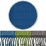 casa pura® Gartentischdecke Wonderland für Garten und Balkon | Weichschaum Tischdecke mit Fransen | rund 140 cm | pflegeleicht und wetterfest | in 3 Farben (uni marineblau)