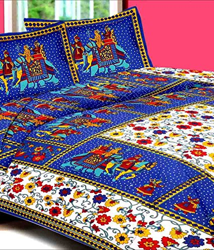 UniqChoice Jaipuri Traditional 100% Cotton Full Size Double Bed Sheet Double Bed Sheet With 2 Pillow Cover