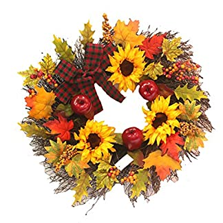 BESTOYARD-Erntedankenkranz-Herbstbeere-Ahornblatt-Sonnenblumenkranz-Herbstkranz-Ernte-Dekoration