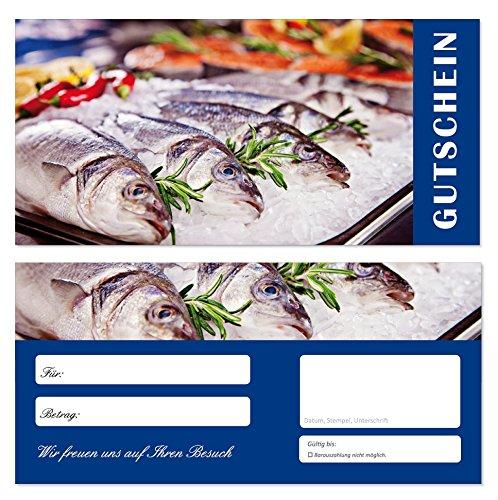 10 Stück Geschenkgutscheine (Fische-686) Gutscheine Gutscheinkarten für Gastronomie Bereiche wie Restaurant Gaststätte Lieferdienst Fischhandel