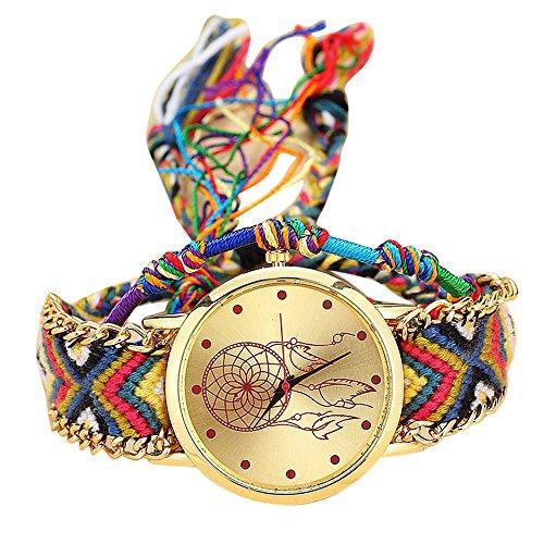 Skang Damen Uhren Fashion Einfach Traumfänger Mesh Damenuhr Mit Handgewebtes Seil Armband Beiläufig Quarzuhr Armbanduhren(one Size,H) -