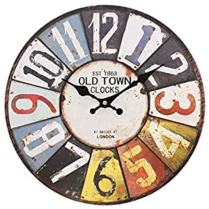 Large Numbers 15616 – Large Rustic Retro Kitchen Wall Clock 34cm