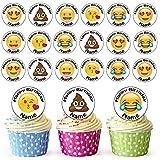 Emoji cara Mix 30personalizado comestible cupcake toppers/adornos de tarta de cumpleaños–fácil troquelada círculos