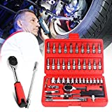 Swiftswan 46pcs Kombination Sockel Bit Set Ratchet Drehmomentschlüssel Auto Reparatur Handwerkzeuge (Farbe: Rot)
