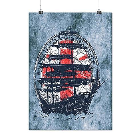Schiff Flagge Meer Mode Mattes/Glänzende Plakat A3 (42cm x 30cm) | Wellcoda