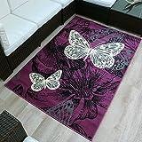 Velours Design Teppich 'New Butterfly' | Kurzflor Schmetterling Creme, violett, blau, Größe:80x150 cm, Farbe:violett