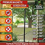 TheFitLife Magnetic Screen Door - Heavy Duty Mesh Curtain with Full Frame Hook and Loop and Powerful Magnets that Snap Shut Automatically (74''x81'' - Fits doors up to 72''x80'' Max)