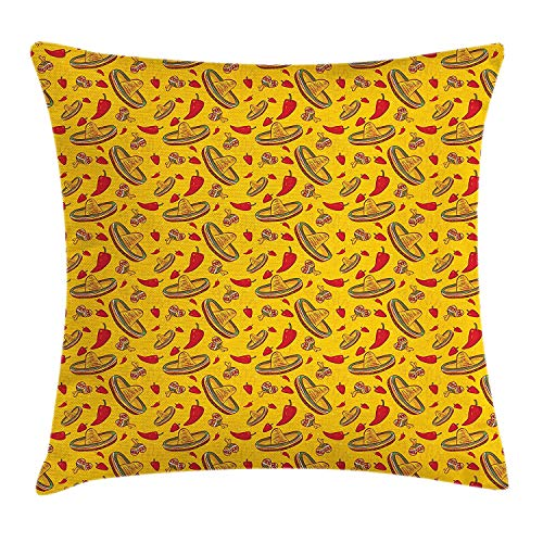 WYICPLO Cinco De Mayo Throw Pillow Cushion Cover, Sombreros Hot Peppers Figures as Repeating Pattern, Decorative Square Accent Pillow Case, 18 X 18 inches, Earth Yellow Vermilion Fern Green