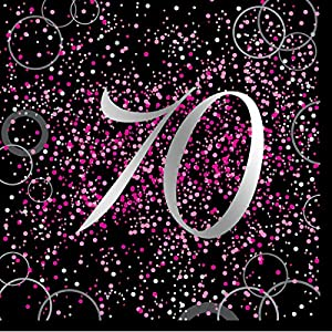 Unique Party Paquete de 16 servilletas de papel de 70 cumpleaños Color rosa metálico brillante 57474