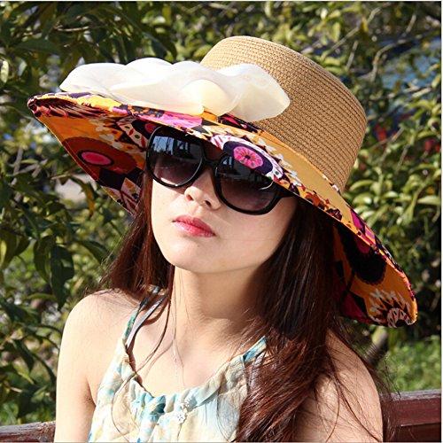 Surker Cloth Femmes et de la paille Pliable Grand Brim Anti-Sun Hat Blue & Beige 1