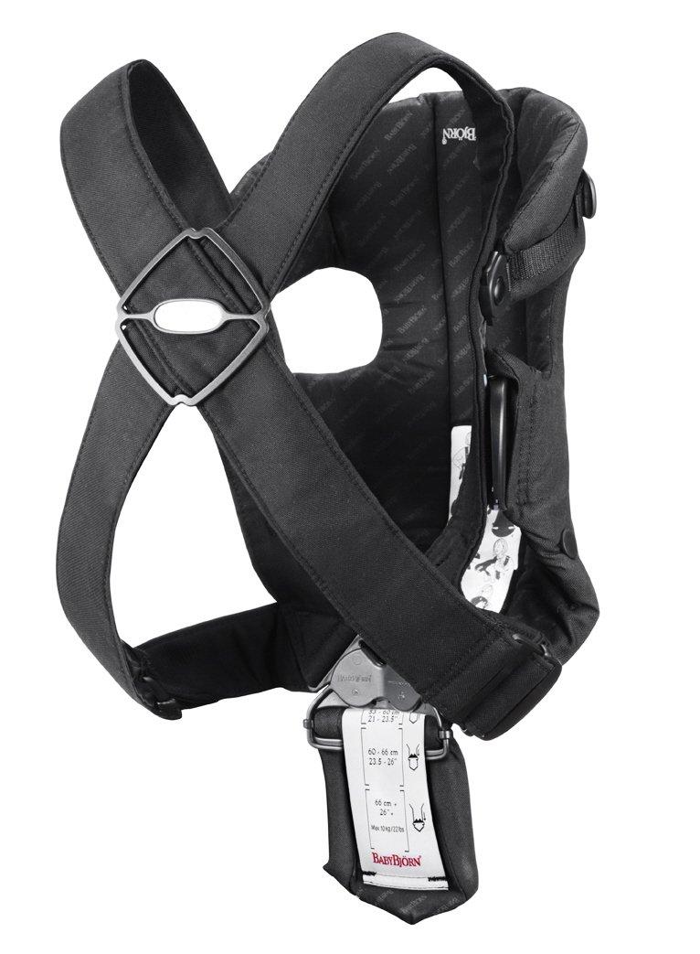 615at13SNXL - BabyBjörn Original - Mochila portabebé de algodón, diseño de rayas, color negro