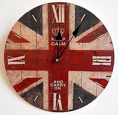 Tinas Collection runde Moderne Wanduhr mit dem Motiv England - Union Jack, Ø 30 cm Uhr Jack