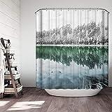 Einfach die Vereinigten Staaten zu folgen und Winter Forest Duschvorhang Badezimmer wasserdicht Anti-schimmel Vorhänge Vorhänge an den Fenstern mit 12 Haken W180*H 200 cm 100% Polyester Produktion