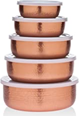 5 Piece Hammered Copper Plated Stackable Storage Bowl Set with Lids by TopShelf
