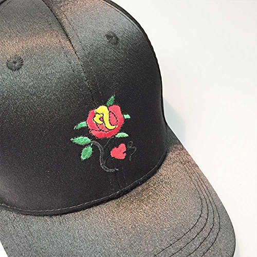 BKILF Baseballmütze 2019Women Men Couple Embroidery Rose Baseballmütze Unisex Snapback Hip Hop Flat Hat-, Schwarz Outdoor Research-stretch-cap