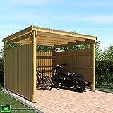 GHS Unterstand 3x3 m mit 3-seitiger Verkleidung Unterstand Fahrrad + Motorrad, Gartengeräte + Gartenmöbel, Unterstand für Raucher