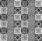 Idan - Azulejos de cerámica mexicanos - Paquete de 30 azulejos blancos y negros de 10x10cm