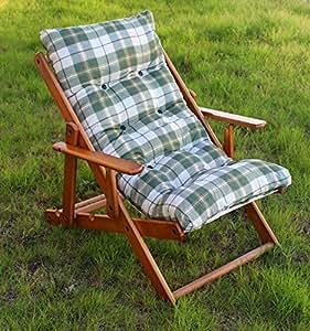 Poltrona sedia sdraio relax in legno pieghevole cuscino for Amazon sedie soggiorno
