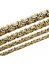 Soul de Cats® Cadena bizantina pulsera o set con collar de acero inoxidable, diferentes longitudes y fortalecer dorado Talla:6 mm