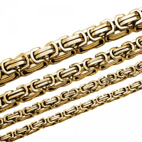 Soul-Cats® Königskette Halskette Set Armband Edelstahl gold silber schwarz lange Kette cm, Größe:9 mm;Farbe:gold;Auswahl:Kette 55 cm + Armband
