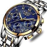 FOVICN Herren Uhr Analog Quarz mit Edelstahl Armband L9810GB