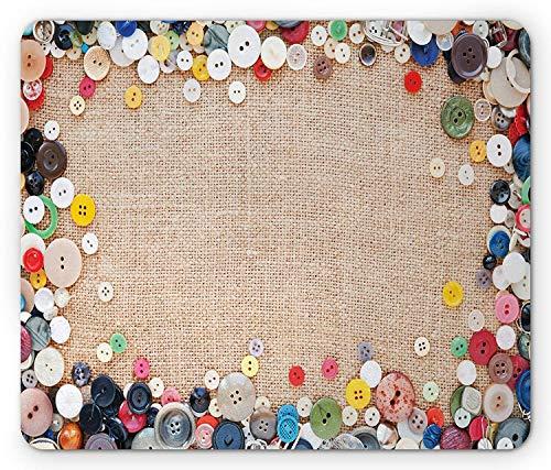 Vintage Mauspad, Knöpfe Sammlung Stoff Textur Leinwand Nähen Needlecraft zeitgenössische Bild, Standardgröße Rechteck rutschfeste Gummi Mousepad, hellbraun