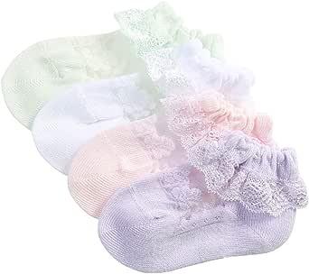 Ciujoy Baby Girls Socks 5 Pairs Lace Frilly Princess Mesh Cotton Stockings for 0-5 Year Toddler Kids