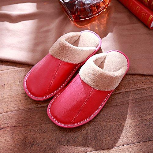 DogHaccd pantofole,Pelle ovina di pantofole di cotone coppia femminile in autunno e inverno caldo di spessore non-slip maschile di pantofole inverno piano piscina Il rosso2