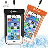 WSTOO Universal Waterproof Case With Armband and Touch ID Fingerprint,IPX8 Waterproof Phone Pouch For iPhone8/8plus/7/7plus/6s/6/6s plus Samsung galaxy s8/s7 (2-Pack) (Black + orange)