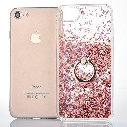iPhone 6S Plus Hülle,Mo-Beauty® Transparent Kreativ Design 3D Hard Case Liquid Bling Dynamisch Treibsand Flüssige Fließend Wasser Glitter Glitzer Glanz Sparkle Klar Hart Plastik Tasche Kristall Handyt Rose gold
