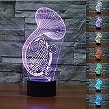 Estimada Saxofón 3d lámpara LED óptico engaños Luz nocturna, haiyu 7farbwech con acrílico Flat & ABS Base & USB cargador de cambiar toca Botton lámpara de escritorio lámpara de mesa