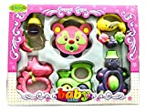 #8: BabyGo Colourful Non Toxic Musical Rattles Set for Babies, Children. Set Of 6 Gift Pack for Baby Showers