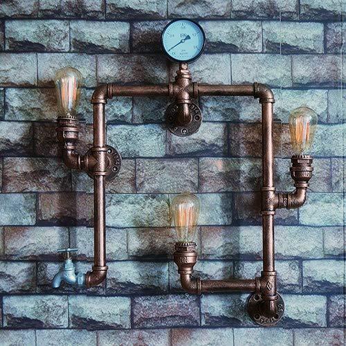 Rishx Vintage Industrial Retro 3-Lights Edison Wasserpfeife Wandleuchten Steampunk Rustikale Schmiedeeisen Wandleuchten Wandlampen Lampen für Scheune Garage Villa Flur Bar Cafe Beleuchtung Leuchte -
