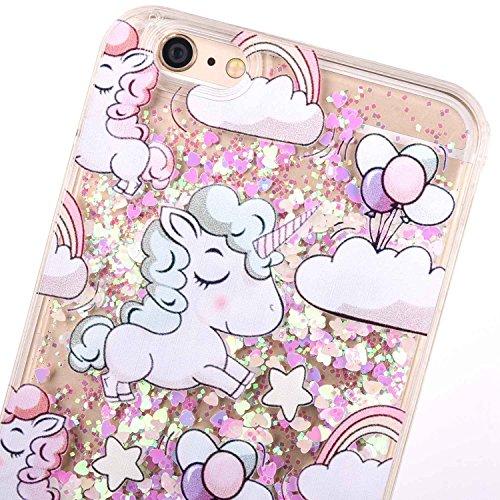 iPhone 7case, iPhone 7glitter case, Toyym 3D Funny Floating [Bling] [Liquid] custodia con Sparkle Love Stars Quicksand in, cartoon Unicorn pattern design, glitter Shinny lusso hard shell con bumper  Unicorn#2