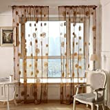 Amazingdeal365 Sonnen Blumen Vorhang Flugfensterdeko Voile Gardinen Schal 2m *1 m Set für Tür Schlafzimmer Wohnzimmer Kinderzimmer Balkon Terasse Spielzimmer (Kaffe)