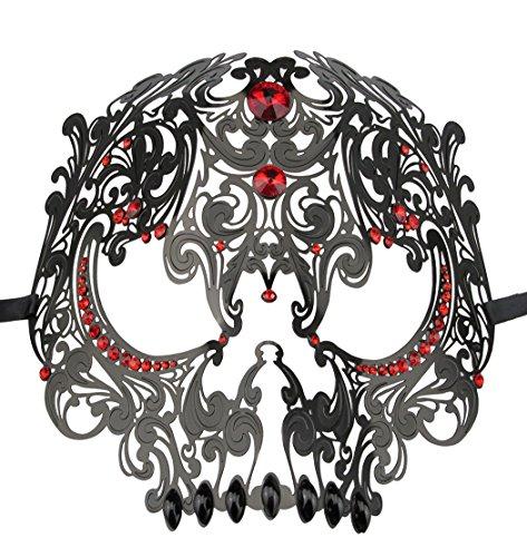 Skull Face Masquerade Mask Mardi Gras Party Template with Rhinestones (Princess Masquerade Halloween-kostüme)