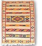 Auténtica marroquí hecha a mano tejida a mano Kilim 100% alfombra de lana–crema color blanco con naranja rojo y negro–3.28X 2,13M (1,00x 0,65m)