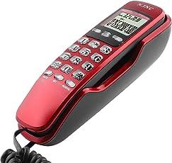 Eboxer Mini-Wand Telefon eingehende Anrufer ID LCD Display Festnetz-Telefon mit Anrufbeantworter für Home Office Hotel(rot)