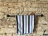 Handtuchhalter 80cm für Badehandtuch Schwarz Anthrazit Metall Handtuchstange Wand, sehr Stabil, Industrial Design