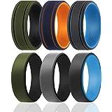 خاتم زفاف من السيليكون للرجال - 3 حزم/4 حزم فردية - مجموعة ثنائية من عصابات الزفاف المطاطية المصنوعة من السيليكون - أنماط كلا
