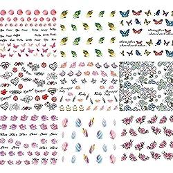 Hosaire 50 Hojas Surtido Pegatina Decoracion para las Uñas Decal DIY uñas herramienta de decoración arte adhesivos uñas Pegatinas