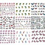 Kanggest 50 Nailart Aufkleber, Nail Tattoo Sticker/Nailart Tips-Dekorationen/Schmetterling Blume Wasserzeichen(49.5*64mm)